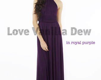 Bridesmaid Dress Infinity Dress Royal Purple Floor Length Maxi Wrap Convertible Dress Wedding Dress