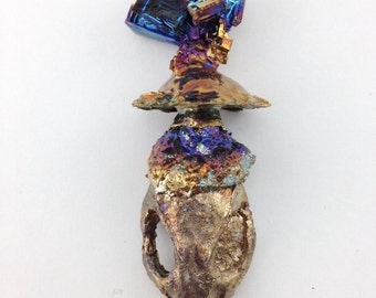Bismuth Crystal Rat Skull Geode (rattus04)