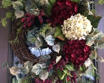 Hydrangea Wreath, Front Door Wreath, Elegant Wreath, Red Wreath, Summer Hydrangeas