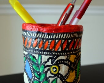 Paper Mache handmade pencil stands for your home. Promote artisans in India.