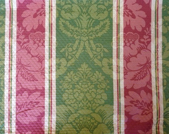 Striped Damask Fabric - Pink and Green - Damask Fabric - Upholstery Fabric By The Yard