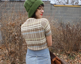 Mad Plaid Sweaterlette Size Small