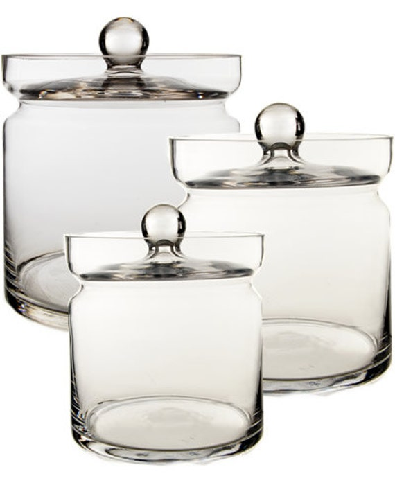 Apothecary jar glass candy buffet jar set of 3 pcs for Modern apothecary jars