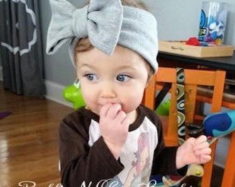 Heather Gray Big Bow Headwrap - Baby Headwrap - Baby Bow Headband