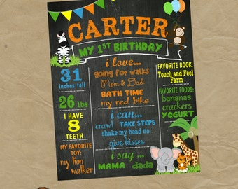 Jungle Birthday Chalkboard Poster - Any Size and Age- Lion Monkey Giraffe Elephant Zebra