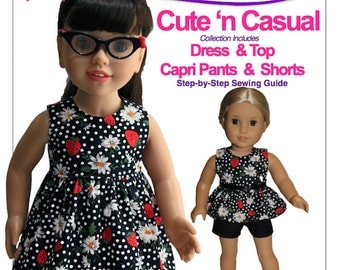 "Cute n Casual - Sewing pattern for 18"" Size dolls including American Girl"