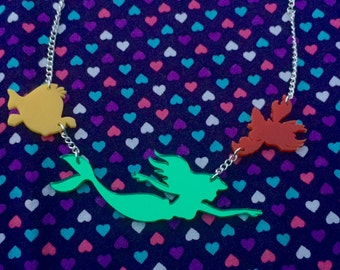 Little Mermaid Laser Cut  Necklace