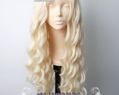 Daenerys Targaryen Game of thrones / A Song of Ice and Fire  pale blonde curly cosplay wig 80cm . Lolita wig ( SP25 )