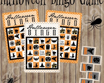 Deluxe Halloween Bingo Game. 20 Game cards plus Calling cards. Instant digital download.