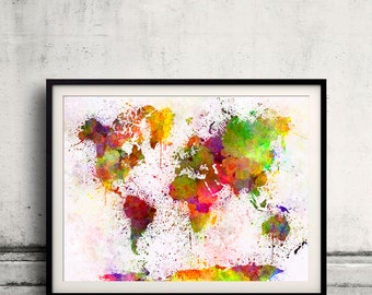 World map in watercolor painting abstract splatters - SKU 0402