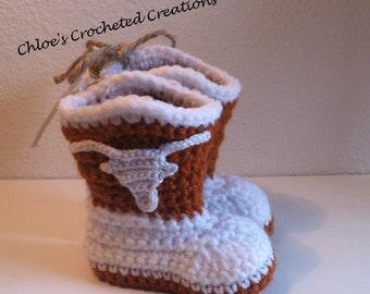 Crochet Cowboy Boot Slipper, Slippers, Newborn Boots, Boots, Texas, Longhorn