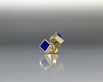 Classic stud earrings with Lapis Lazuli and 18K gold - inlay work - square earrings - gold and blue - minimal design - solid gold - gift