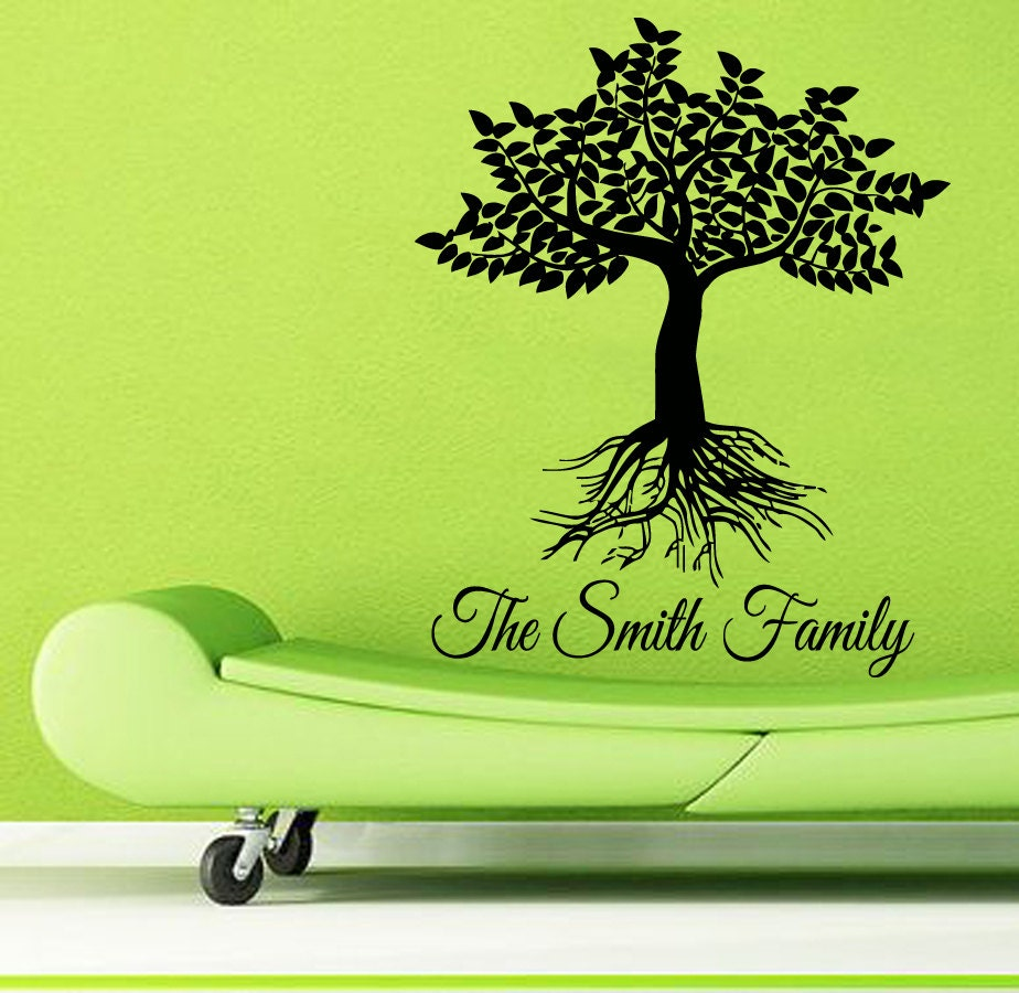 wall decal family art bedroom decor custom family name wall decals family tree roots living room decor floral interior design home decor