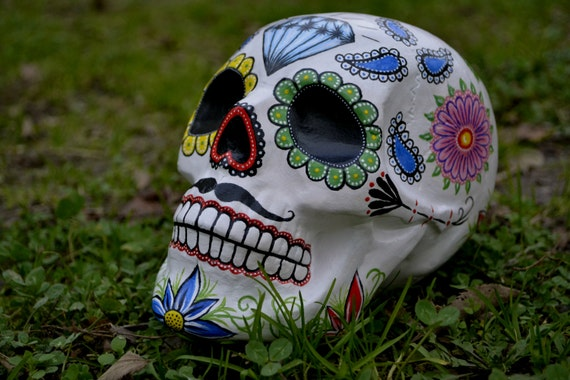 Sugar Skull Dia De Los Muertos Day of the Dead HandMade Sugar Skulls Ceramic Skull Mexican Skull Decoration Moustache