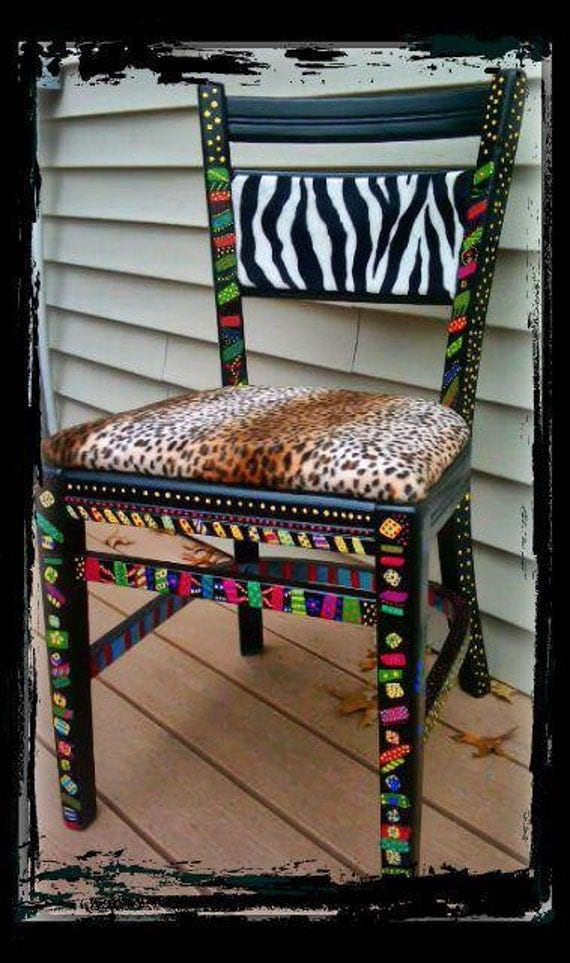 Items Similar To Hand Painted Chair One Of A Kind Reupholstered African Safari Abstract Art Free