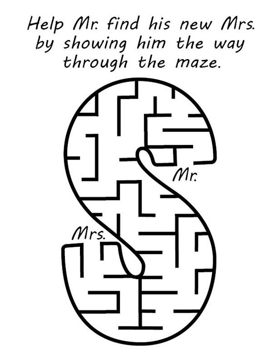 maze for wedding coloring book - Wedding Coloring Books