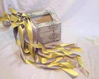 200 wedding streamers gray and yellow with bells send off wedding ribbon wands