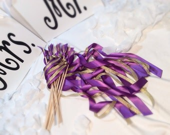 150 Wedding Ribbon Wands Purple And Gold Metallic With Bells Send Off Streamers