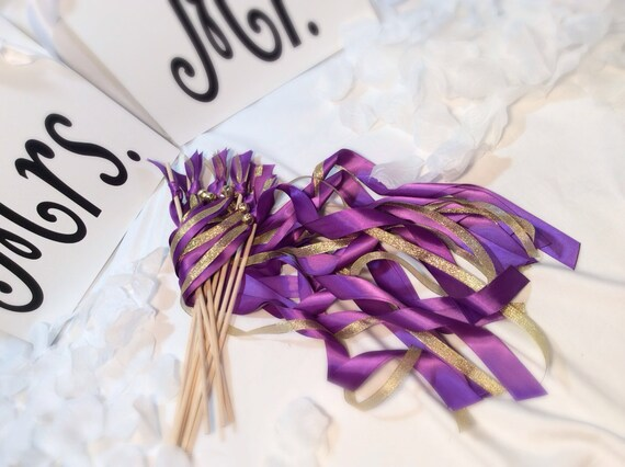 Metallic Foil Streamer Wands : 150 wedding ribbon wands purple and gold metallic ribbon with bells