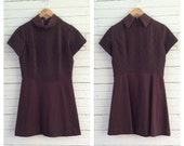 ganache woven poly skater dress w/ accent collar // size m/l
