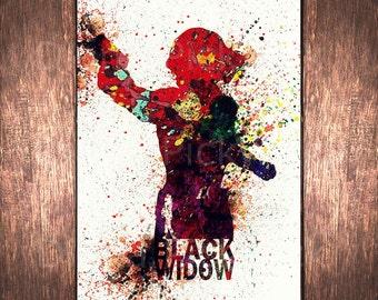 The Avengers Black Widow A3 digital poster Avenger Watercolor Digital poster Wall art print  Black Widow poster digital download DP-20