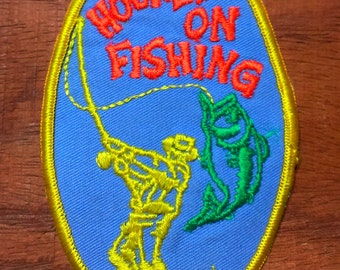 Vintage 1970's Hooked On Fishing (Angler Bass) Embroidered Collector Patch