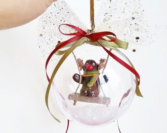 Reindeer Christmas ornament / Christmas tree ornament / Reindeer stocking  OOAK Christmas ornament / Miniature reindeer Christmas decoration