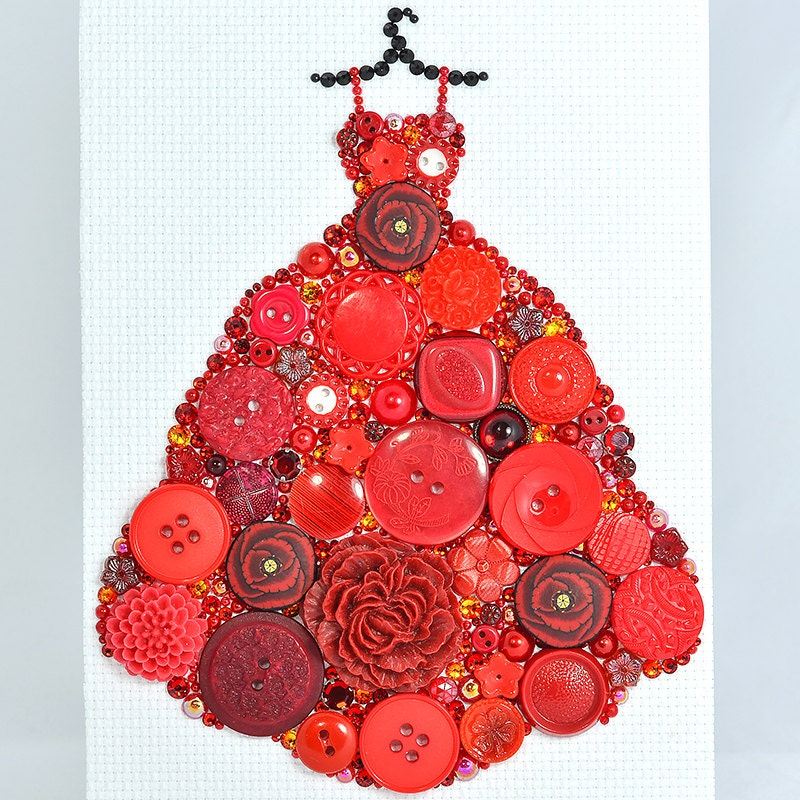 Vintage Button Wall Decor : Button art red gown vintage wall hanging