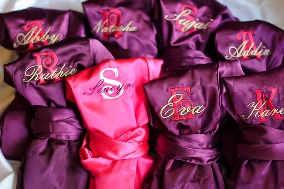 personalized satin bridal robes silk bridesmaid by heritagewedding