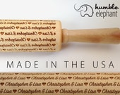 Custom Name and Heart  Embossing Rolling Pin, Laser Engraved Rolling Pin. Patterned Rolling Pin