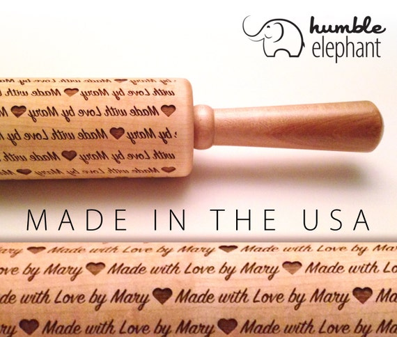 Made With Love By Laser Cut Custom Embossing Wooden Rolling Pin