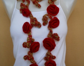 Crochet Necklace, Lariat Necklace, Red, Roses
