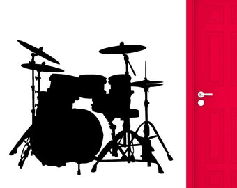 Wall Sticker Drums Musical Instrument Orchestra Rock'n'Roll Vinyl Decal (ig2367)