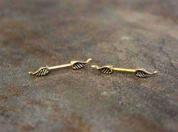 Pair angel wing nipple ring barbell 14g antique gold finish for Angel wings nipple piercing jewelry
