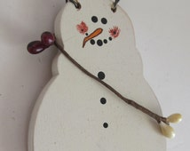 Primitive Snowman Ornament Primitive Snowman Ornie Rusty Wire Hanger snowmen ornaments
