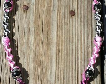 Pink Psycho Swirl Strange Music Hemp Necklace