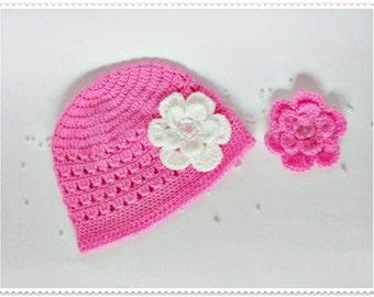 Crochet baby hat, Crochet girl hat, Crochet toddler hat, Pink hat, Girl's hat, Baby girl's hat, Flower baby hat, Newborn baby, Photo Prop