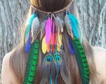 Bird of Paradise, Feather, headband, native, american, style, indian, bohemian, wedding, feather veil, rainbow, costume, edm, plur, rave