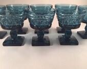 "SALE! 8 Sherbert Icecream Glasses by Indiana Glass 4 1/2"", Colony Park Lane Blue Pattern"