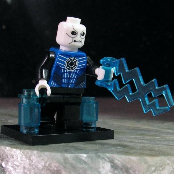 Custom BLUE LANTERN Saint Walker w/Force-Bolt LEGO-size Green
