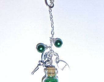 Infinity Loop Tinkerbell Glitter Bottle Necklace