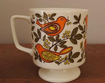 Vintage Stacking Mugs Japanese 70s Ceramic Bird Dove