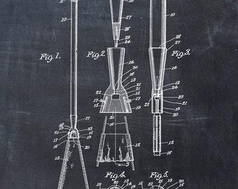 Patent Print of a Canoe Paddle - Patent Art Print - Patent Poster - Boat Art