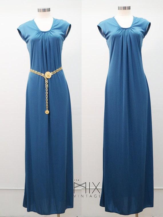70's China Blue Maxi Dress Disco Era Party Dress