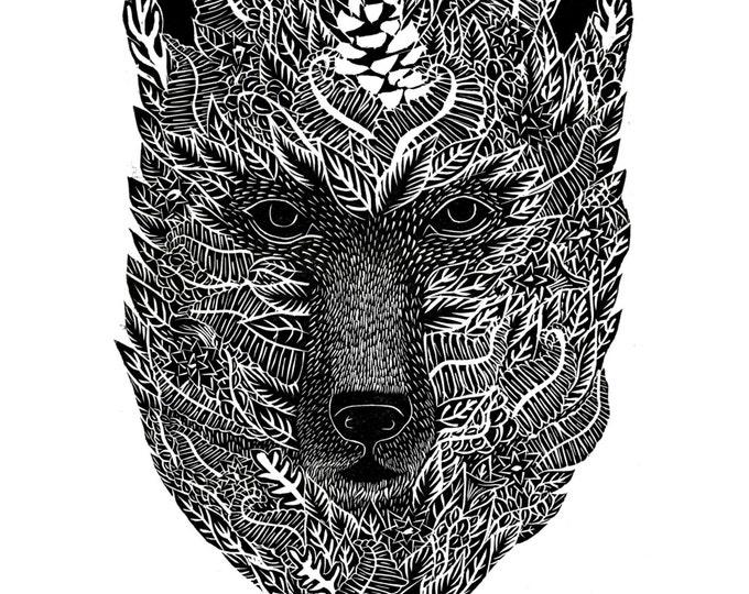 Bear Print | A2 Linocut Forest Nature Block Illustration Original