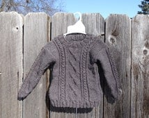 Knit Sweater, Organic Wool Pullover, Hand Knitted Sweater, Sweater for Toddler 12-18 mo, Pure Wool Sweater, All Handmade, Ready to Ship