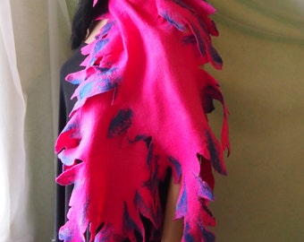 Felted wool scarf-Felted scarf-red wool scarf-Felted scarves-Felted shawl-Nuno felted scarf-wool silk scarf-pink