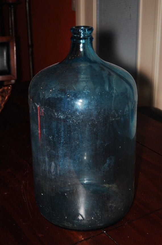 Vintage Blue Water Cooler Bottle Arrowhead Glass by ...