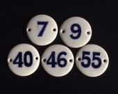 Lot of 5 Antique Vintage French Porcelain Number Tags - Blue and white Enamel door sign plaques - home decor idea