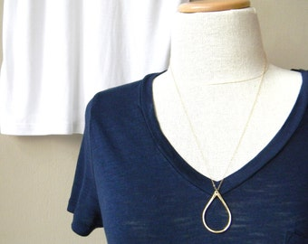 Long Gold Teardrop Necklace / Long Gold Layering Necklace